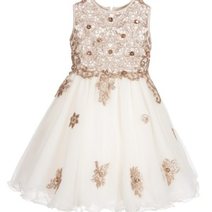 LESY LUXURY Ivory Tulle & Gold Sequin Dress with Jewels