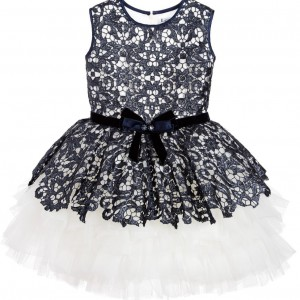LESY LUXURY Luxury Blue Sequin Lace & Ivory Tulle Dress