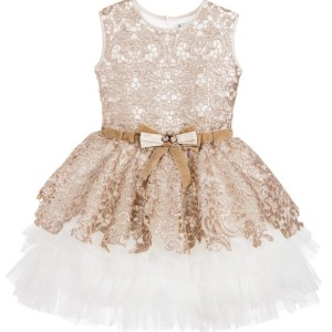 LESY LUXURY Luxury Gold Sequin Lace & Ivory Tulle Dress