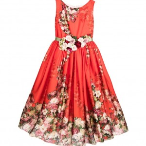LESY LUXURY Red Dress with Rose Brooch Posy & Belt