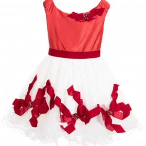 LESY LUXURY Red & White Satin & Tulle Dress with Bows