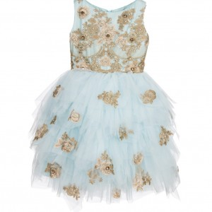 LESY LUXURY Turquoise Blue Tulle & Gold Lace Dress