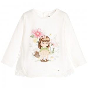 MAYORAL Baby Girls Ivory Cotton Girl & Flowers Top