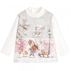MAYORAL Baby Girls Ivory Cotton Top with Girl & Dog