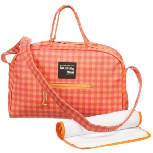 PASITO A PASITO WALKING MUM Orange Check Baby Changing Bag & Mat