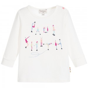 PAUL SMITH JUNIOR Baby Girls Ivory Logo 'Manelle' Cotton Jersey Top