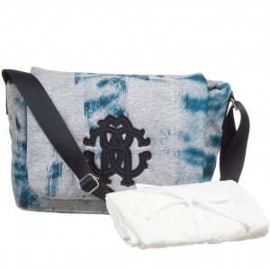 ROBERTO CAVALLI Blue Animal Print Baby Changing Bag