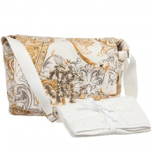 ROBERTO CAVALLI Ivory & Gold Swan Baroque Baby Changing Bag