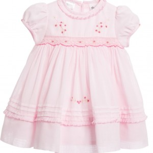SARAH LOUISE Baby Girls Pale Pink Hand-Smocked Dress