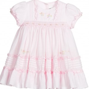 SARAH LOUISE Baby Girls Pink Hand Smocked Cotton Dress