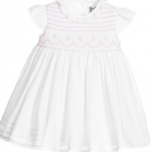 SARAH LOUISE Baby Girls White Hand Smocked Dress