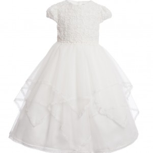 SARAH LOUISE Ivory Embroidered Sequin Occasion Dress