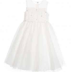 SARAH LOUISE Ivory Tulle Beaded & Sequinned Sleeveless Dress