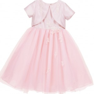 SARAH LOUISE Pink Satin & Tulle Dress with Attached Bolero