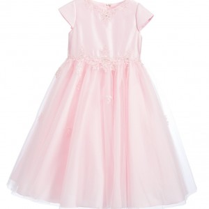 SARAH LOUISE Pink Satin & Tulle Dress with Embroidery1