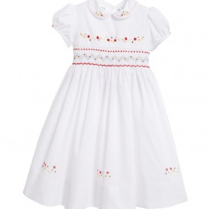 SARAH LOUISE White Hand-Smocked Dress
