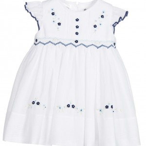 SARAH LOUISE White Smocked Cotton Dress with Blue Trim
