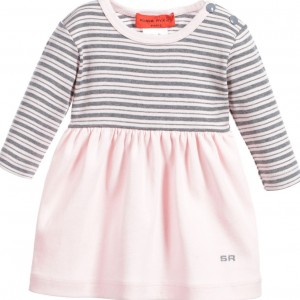 63e859416 ... SONIA RYKIEL PARIS Baby Girls Pink Striped Dress with Knickers ...