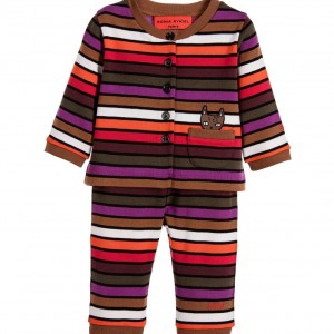 SONIA RYKIEL PARIS Baby Girls Stripy Cotton Cat Cardigan & Trousers