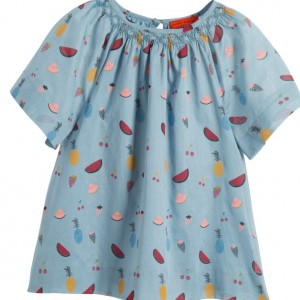 SONIA RYKIEL PARIS Blue Hand Smocked Fruit Print Cotton Dress