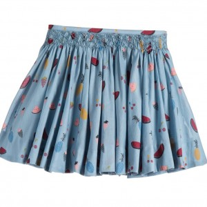 SONIA RYKIEL PARIS Blue Hand Smocked Fruit Print Cotton Skirt