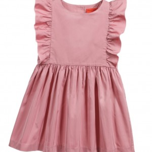 SONIA RYKIEL PARIS Dusky Pink Ruffle Satin Taffeta Dress
