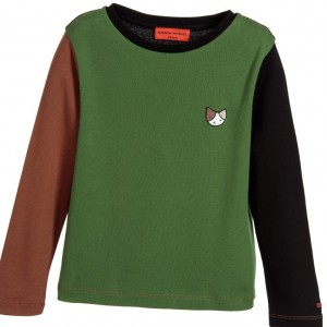 SONIA RYKIEL PARIS Girls Green Cotton Jersey Top with Cat