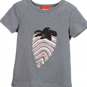 SONIA RYKIEL PARIS Girls Grey Sequin Strawberry T-Shirt