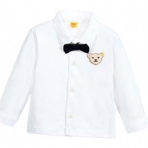 STEIFF Baby Boys White Cotton Jersey Shirt with Bowtie