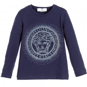 YOUNG VERSACE Girls Navy Blue Cotton Sparkling Medusa Top
