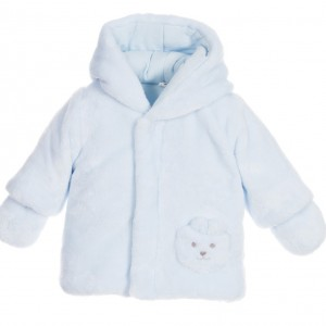 ABSORBA Blue Synthetic Fur Coat with Mittens