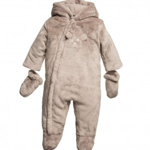 ABSORBA Brown Plush Fur Baby Pramsuit