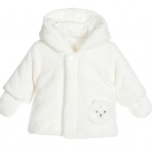 ABSORBA Ivory Plush Fur Baby Coat with Mittens