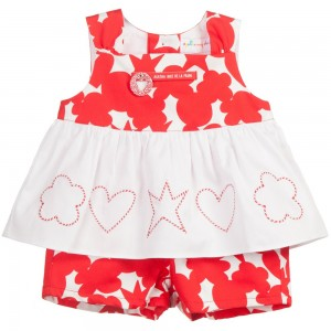 AGATHA RUIZ DE LA PRADA Baby Girls Red & White 2 Piece Cotton Shorts Set