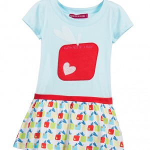 AGATHA RUIZ DE LA PRADA Blue Apple & Hearts Cotton Jersey Dress