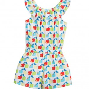 AGATHA RUIZ DE LA PRADA Girls Apples & Hearts Print Cotton Playsuit