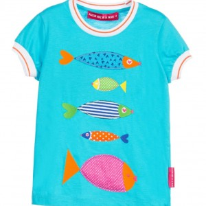 AGATHA RUIZ DE LA PRADA Girls Turquoise Blue T-Shirt with Fish Motifs