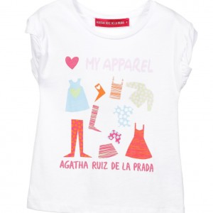 AGATHA RUIZ DE LA PRADA Girls White 'My Apparel' Cotton Jersey T-Shirt