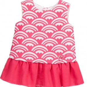 AGATHA RUIZ DE LA PRADA Pink Cotton Dress with Heart Print