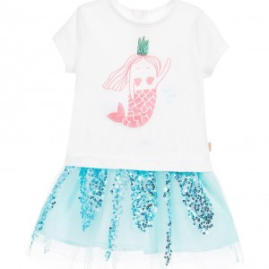 BILLIEBLUSH Baby Girls 2 Piece Sequin Mermaid Skirt Set