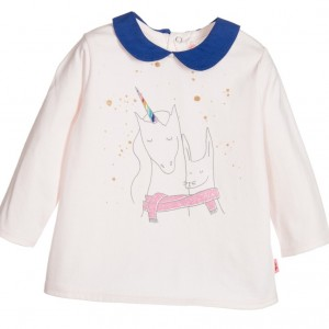 BILLIEBLUSH Baby Girls Pink Unicorn Cotton Jersey T-Shirt