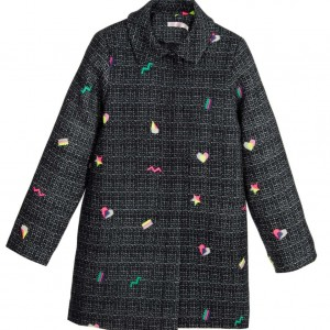 BILLIEBLUSH Girls Navy Blue Embroidered Coat