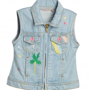 BILLIEBLUSH Girls Pale Blue Denim Jacket with Embroidery