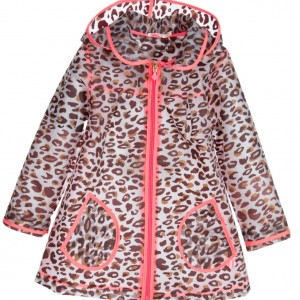 BILLIEBLUSH Girls Transparent Leopard Printed Raincoat