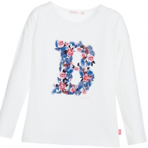 BILLIEBLUSH Girls White Cotton Jersey 'B' Top