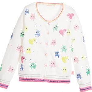 BILLIEBLUSH Girls White Cotton Knitted Cardigan