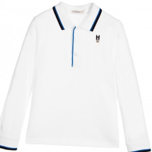 BILLYBANDIT Boys White Long Sleeve Polo Shirt
