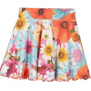CAKEWALK Blue & Orange Flared Floral 'Taber' Skirt