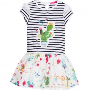 CAKEWALK Blue & White Stripe Floral Print 'Styx' Dress