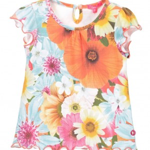CAKEWALK Girls Blue & Orange Floral 'Kano' Top